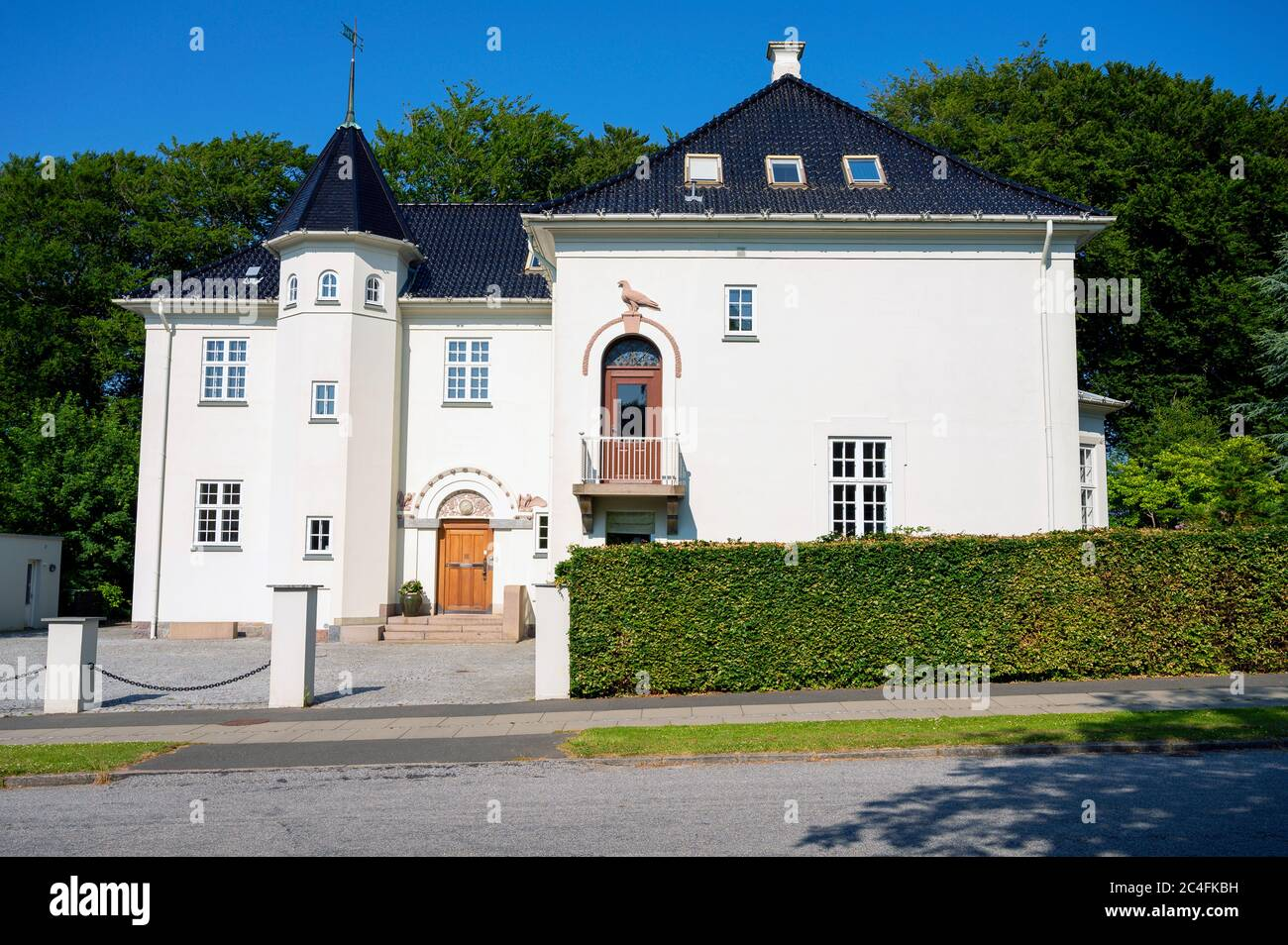 Big White House Mansion With Black Roof Stock Photo Alamy