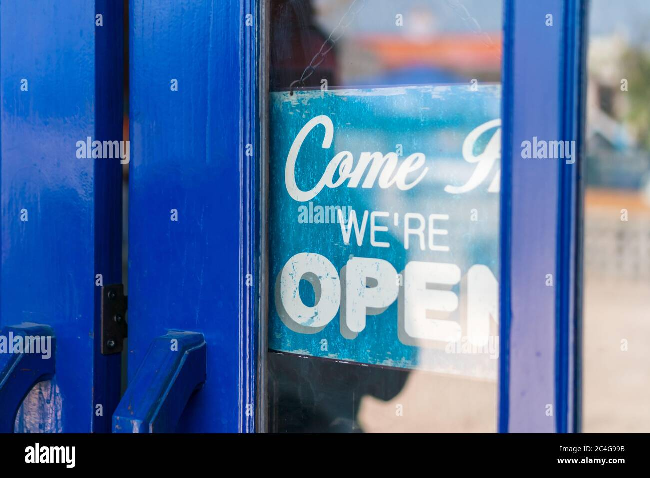 A Business Sign That Says Open On Cafe Or Restaurant Hang On Door At Entrance Vintage Color Tone Style Stock Photo Alamy