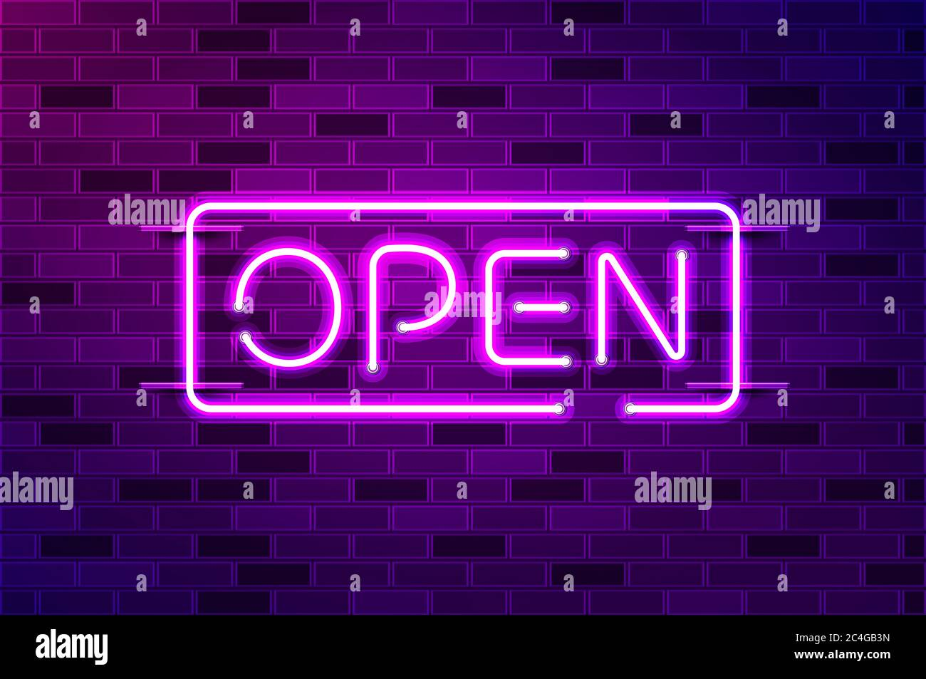 Open Glowing Neon Sign Or Led Strip Light Realistic Illustration Purple Brick Wall Violet Glow Metal Holders Stock Photo Alamy