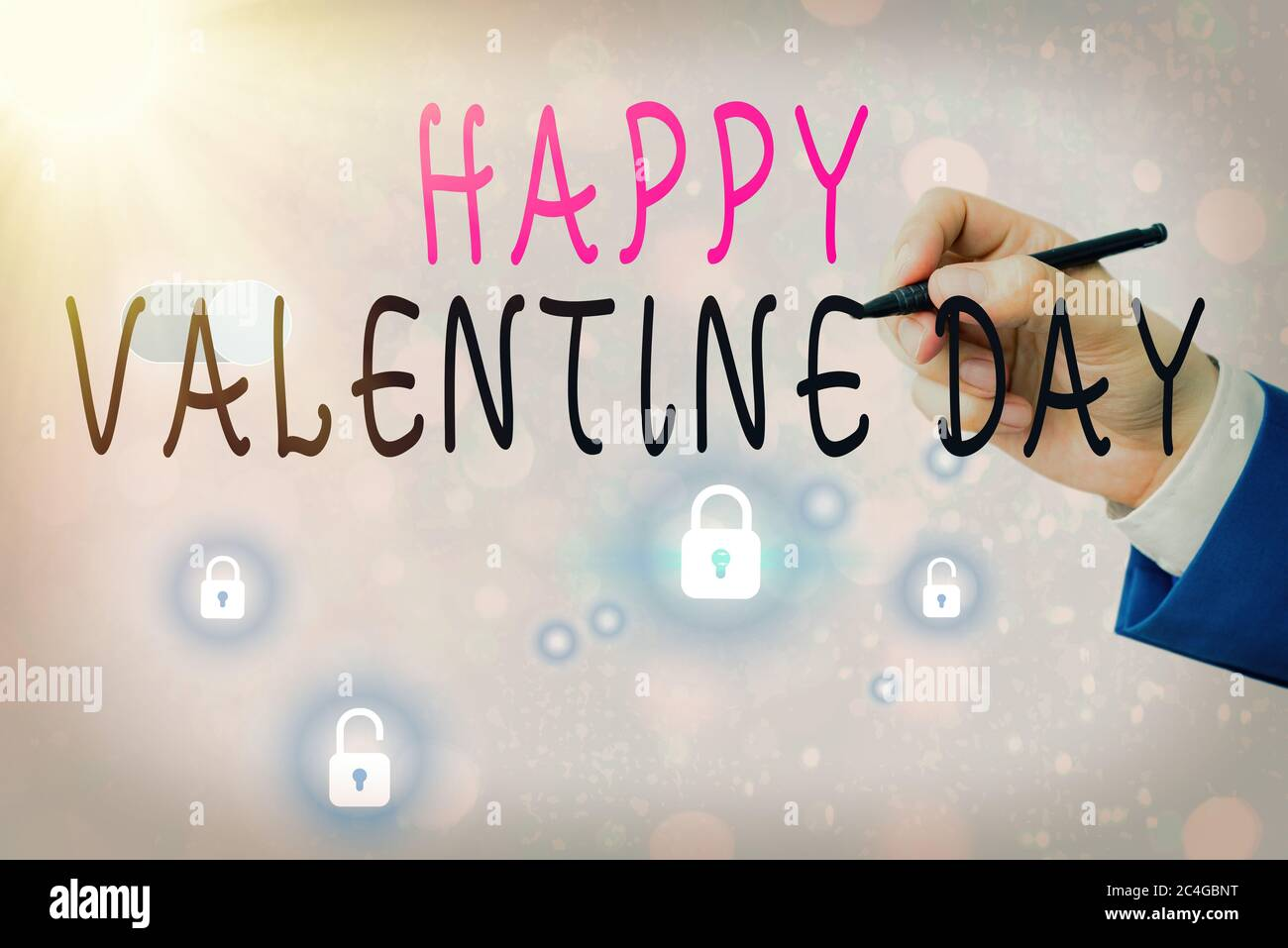 Text Sign Showing Happy Valentine Day Business Photo Text A Special Day For Lovers To Express Their Affection To Themselves Stock Photo Alamy