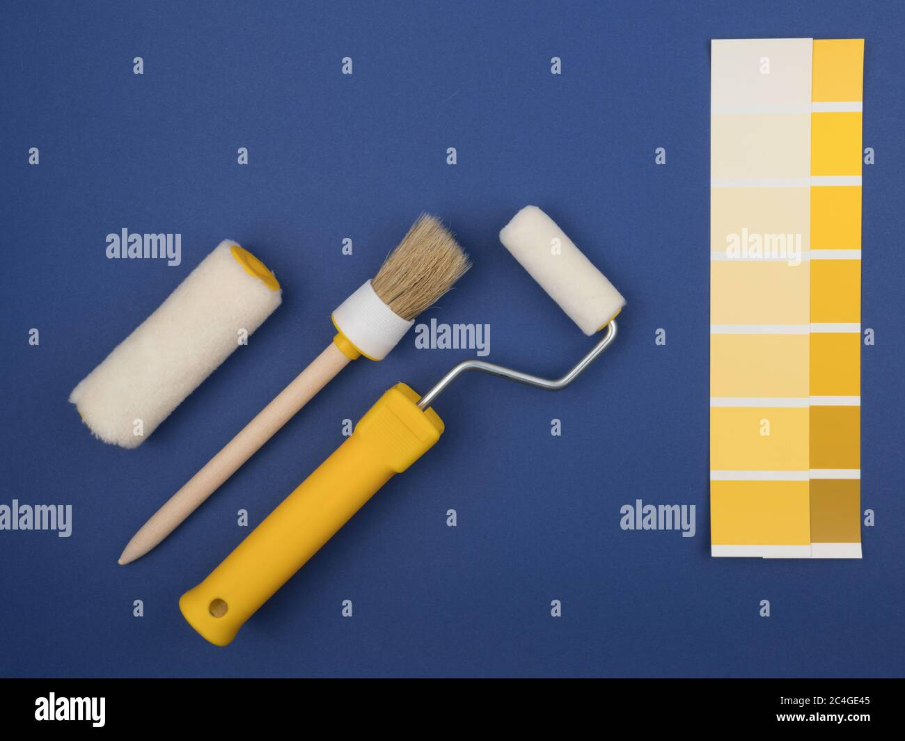 The concept of repainting of the walls during repair. Stock Photo
