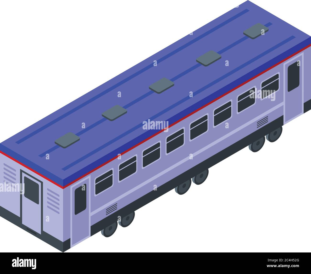 Electric train wagon icon, isometric style Stock Vector