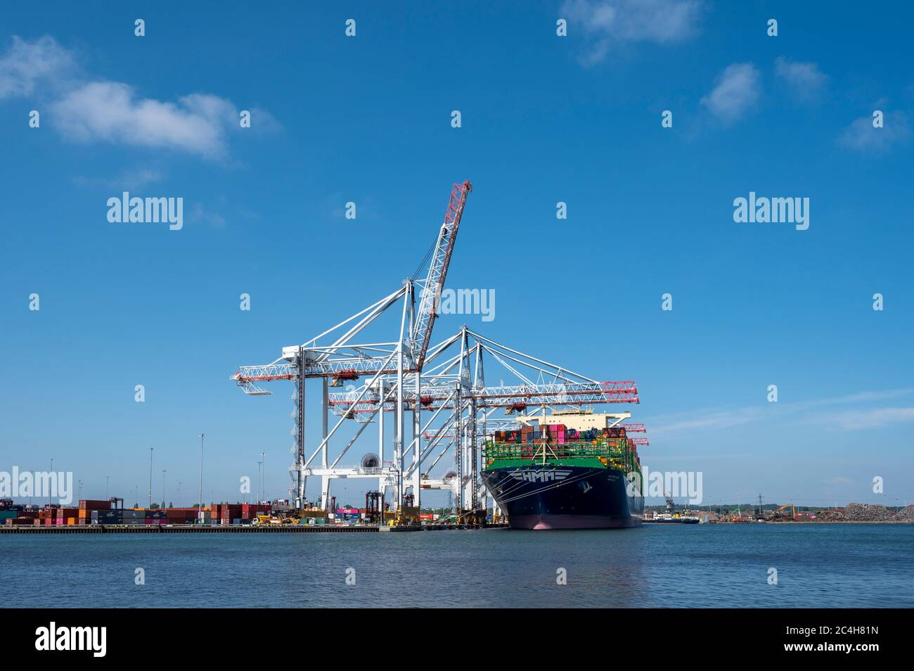 HMM Oslo docked at Southampton, Hampshire, England, United Kingdom seen from Marchwood. Stock Photo