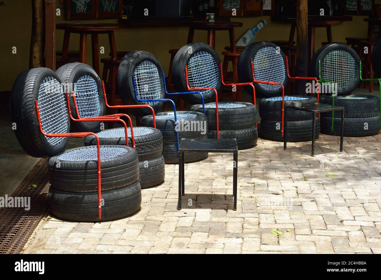 Ombika Namibia Fed 3 2016 Chairs Made From Used Car Tires An Example Of A Non Standard Design From Recycled Materials Stock Photo Alamy