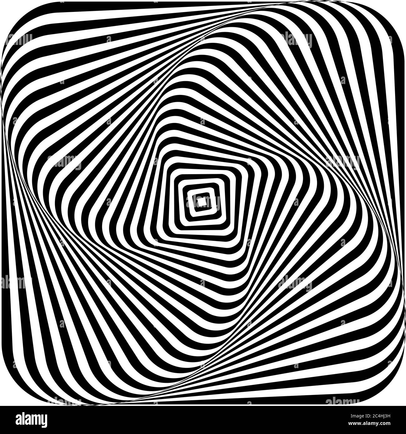Optical illusion of swirling a picture torsion and rotation movement. Dynamic effect. Vector illustration. Stock Vector