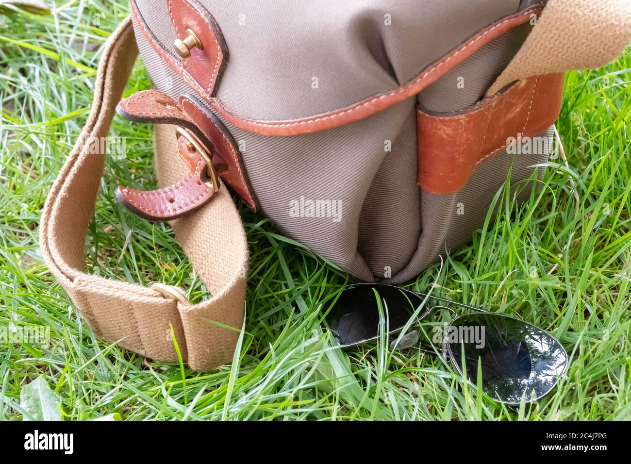 Pair of aviator style sunglasses seen laying on lush grass next to a canvas style camera bag. Stock Photo