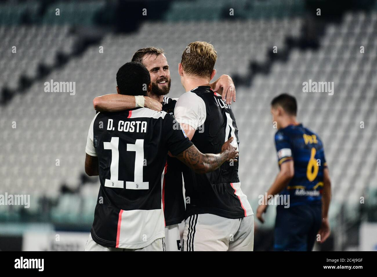 Turin Italy 26th June 2020 Miralem Pjanic And Douglas Costa Of Juventus Celebrates During The The Serie A Football Match Juventus Fc Vs Lecce Juventus Won 4 0 At Allianz Stadium In Turin