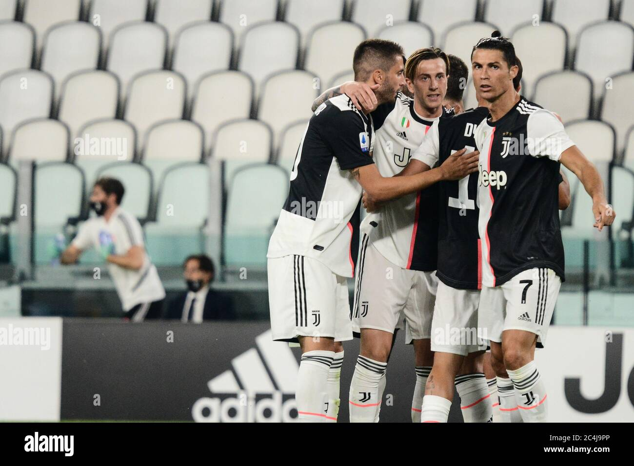 Turin Italy 26th June 2020 Cristiano Ronaldo Of Juventus Celebrates During The The Serie A Football Match Juventus Fc Vs Lecce Juventus Won 4 0 At Allianz Stadium In Turin Italy On 26