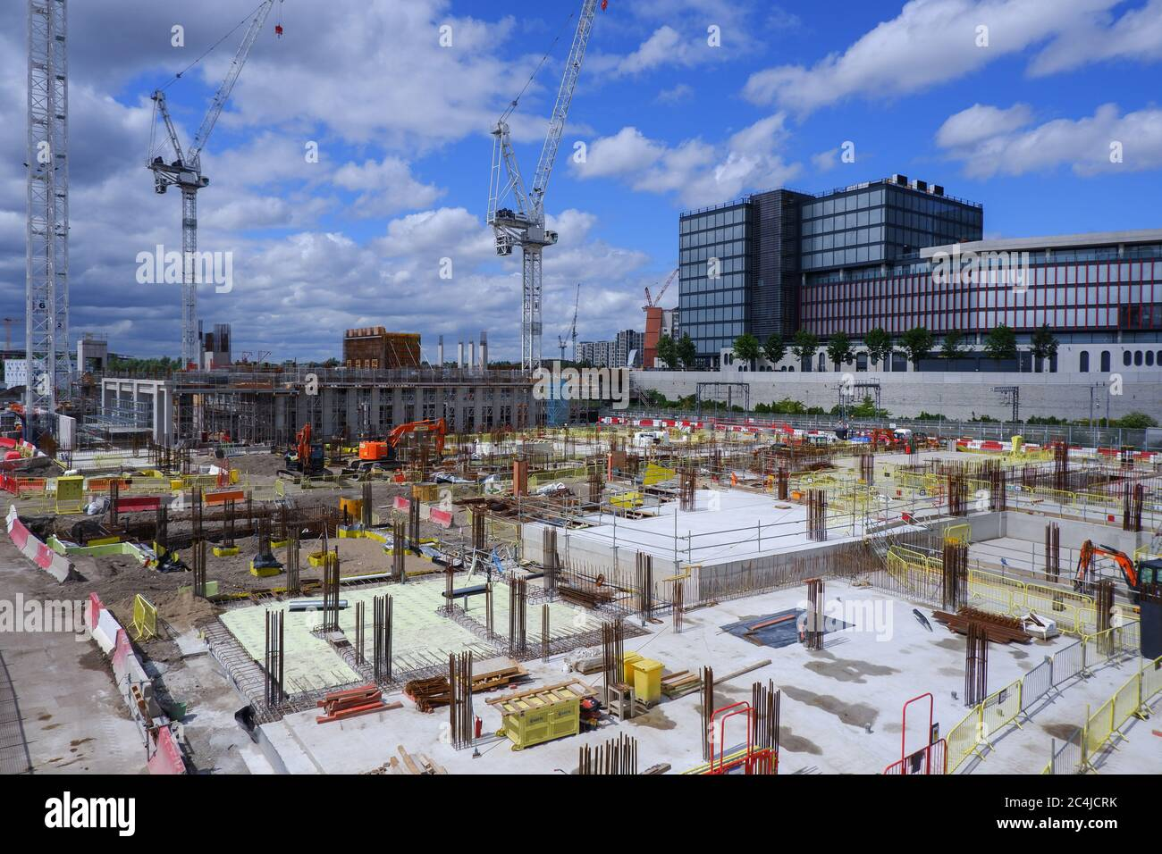 London, England – 2020 : construction site of  East Bank/ Stratford Waterfront, Queen Elizabeth Olympic Park Stock Photo
