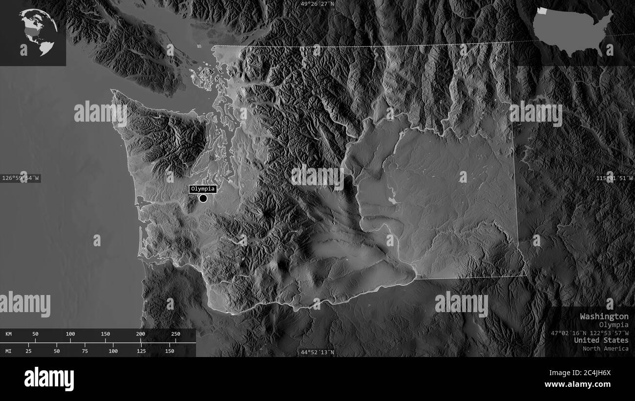 Picture of: Washington State Of United States Grayscaled Map With Lakes And Rivers Shape Presented Against Its Country Area With Informative Overlays 3d Rende Stock Photo Alamy