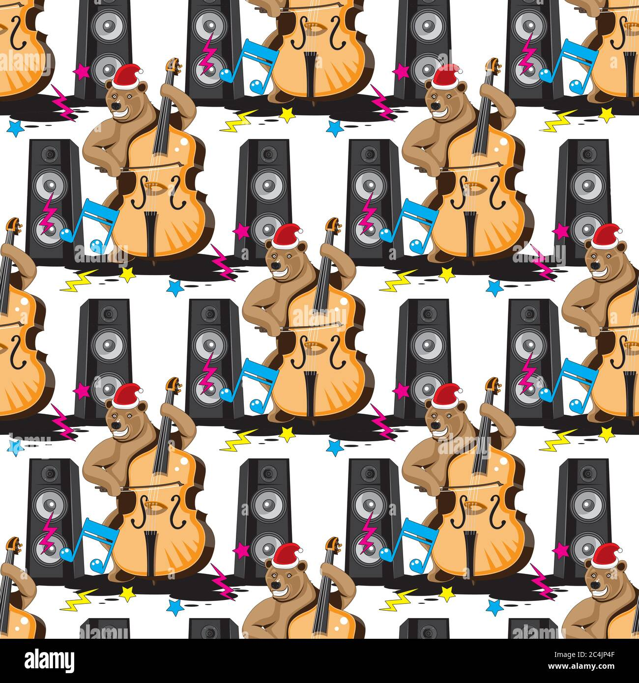 Seamless pattern of a bear playing a double bass in a hood music from speakers on a white isolated background. Vector image Stock Vector
