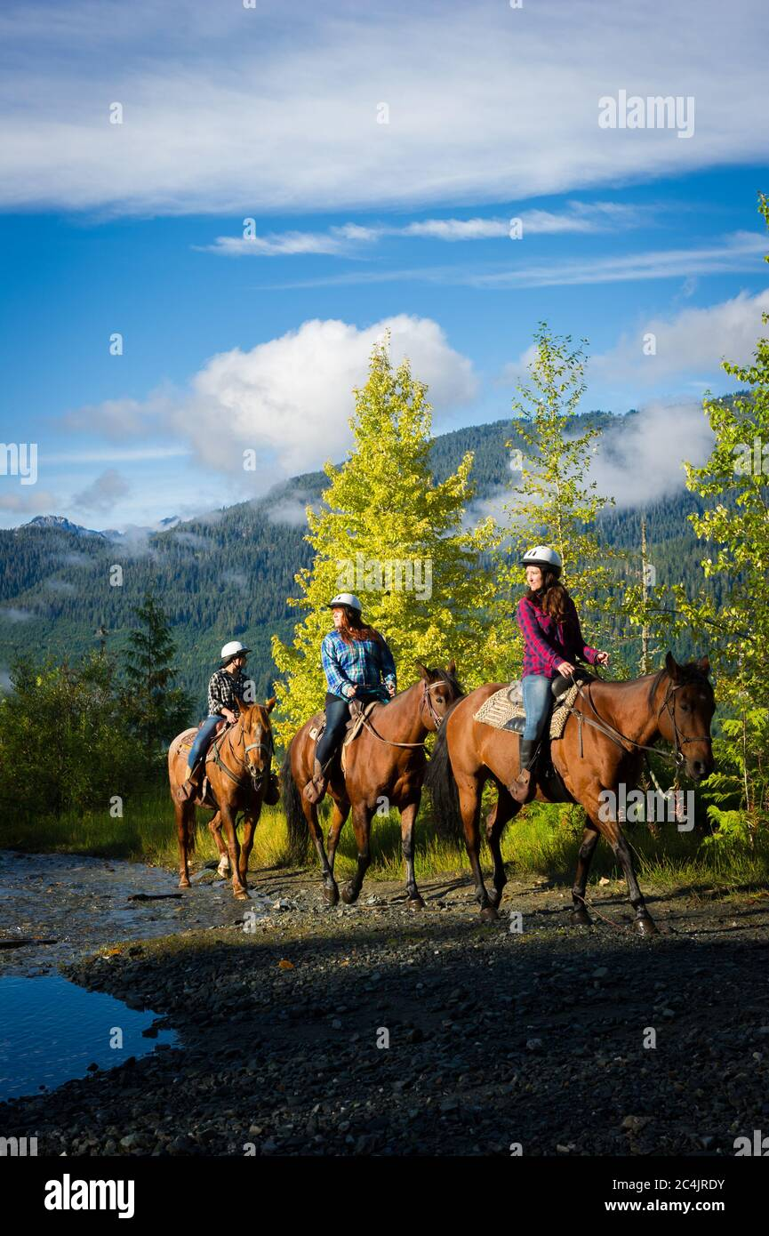 Whistler Bc Canada Horseback Riding With Canadian Wilderness Adventures In The Callaghan Valley Stock Photo Stock Photo Alamy