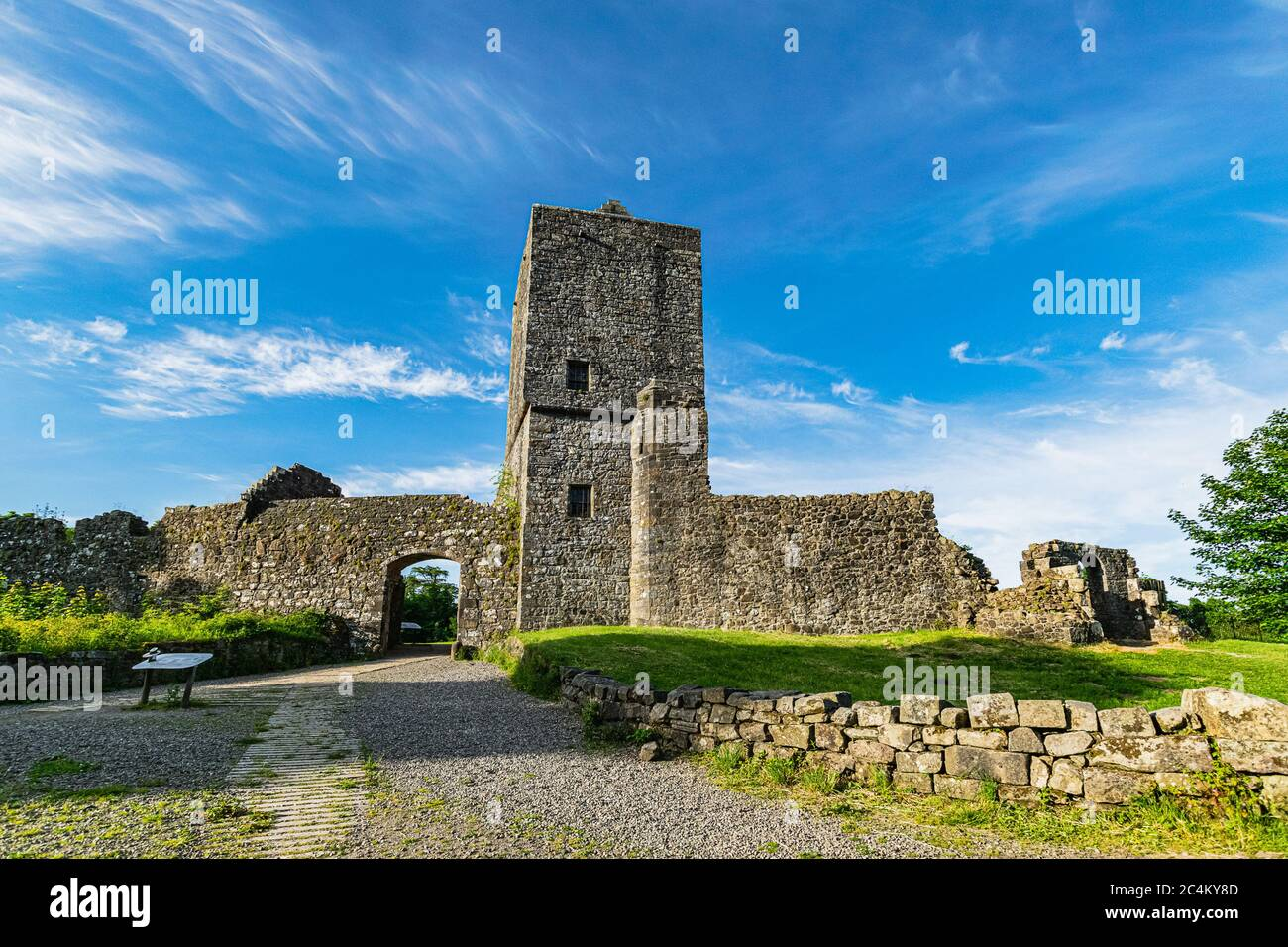 Ruins of 13th century Mugdock Castle, the stronghold of the Clan Graham in Mugdock Country Park, Scotland. Stock Photo