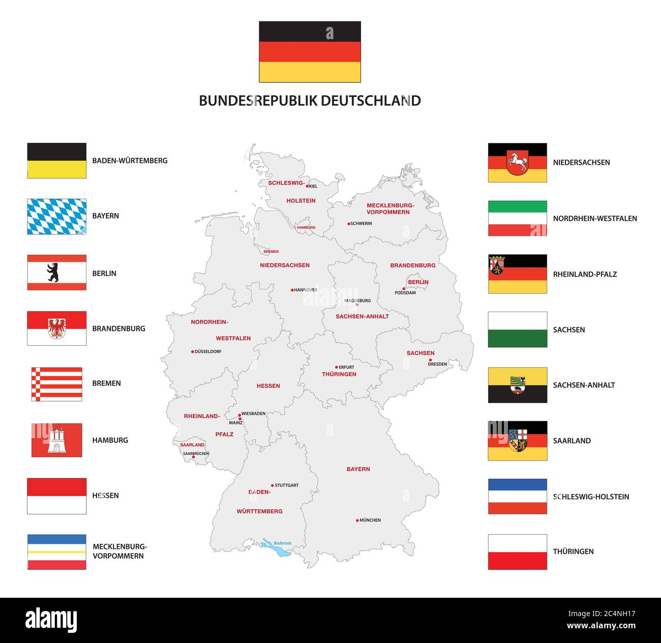 Vector administrative map of Federal Republic of Germany with the flags of the federal states Stock Vector