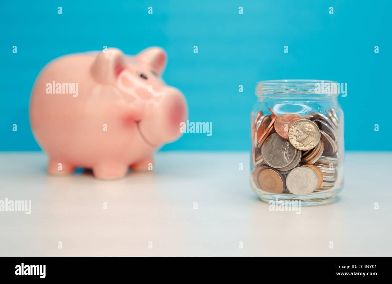 Piggy bank money savings concept. Financial help services and support Stock Photo