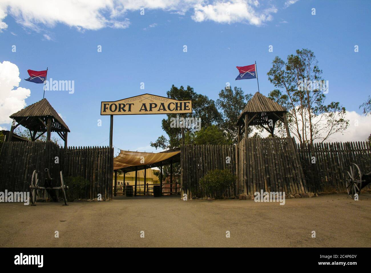 Province of Almería, Andalusia, Spain, Europe. Tabernas Desert (Desierto de Tabernas). Mini Hollywood film set, western theme park. The entrance to Fort Apache (reconstruction). Stock Photo