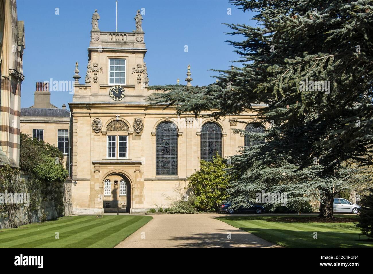 Clocktower and quadrangle, Balliol College, Oxford University. Stock Photo