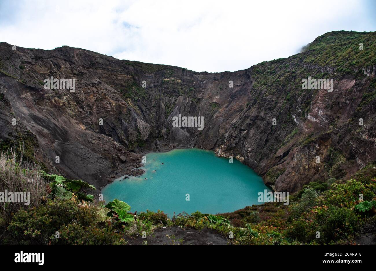 Volcano Irazu, colorful mineral lagoon, crater lake, Costa Rica National Park, cartago province, Central America, 3432 meters high Stock Photo