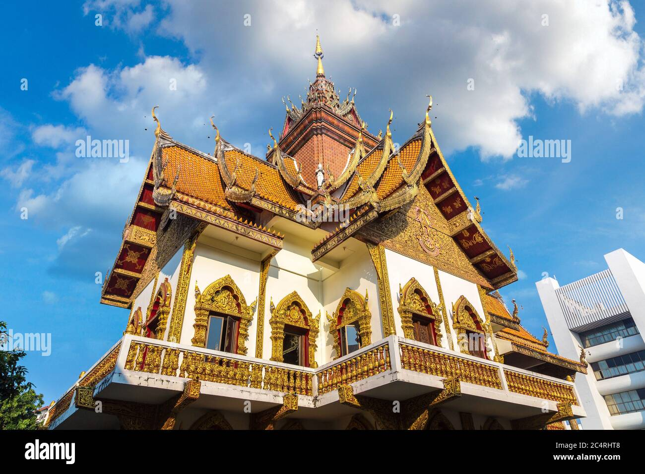 Wat Buppharam - Buddhists temple in Chiang Mai, Thailand in a summer day Stock Photo