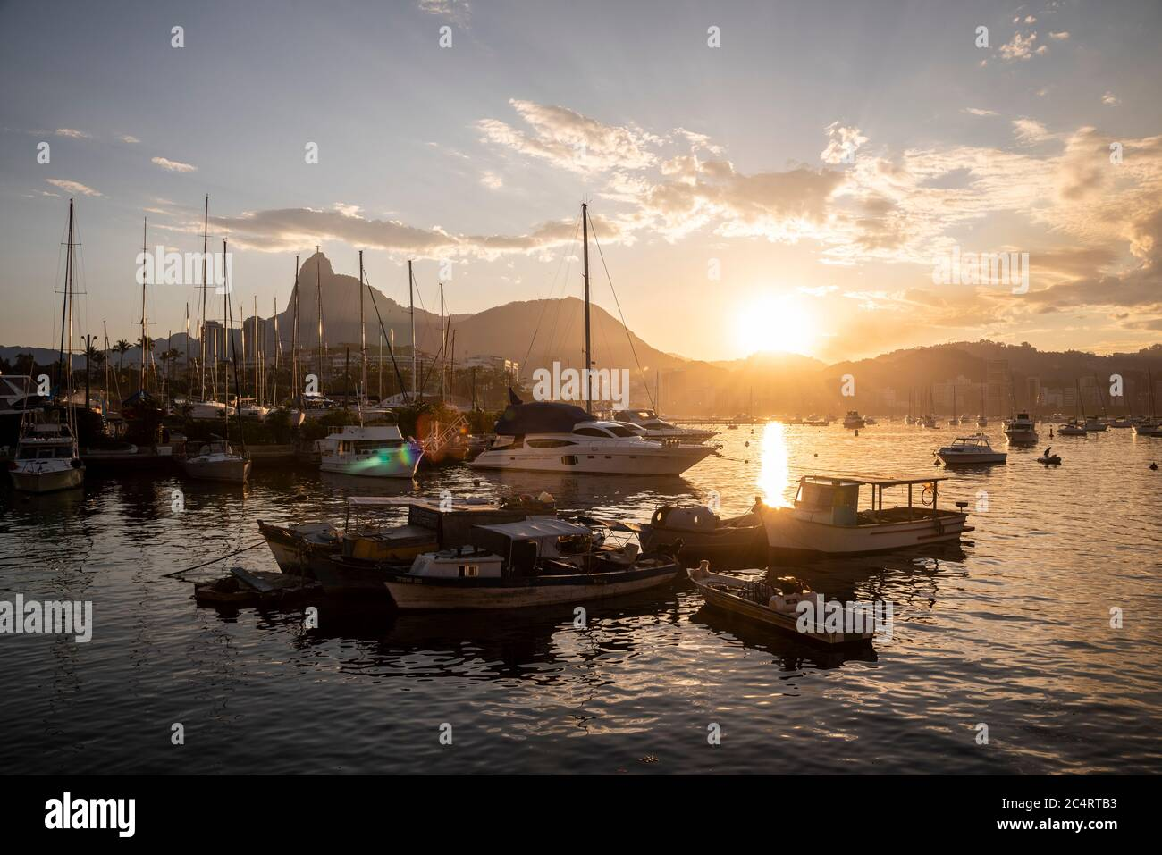 Beautiful view to Corcovado Mountain behind sailboat masts, Rio de Janeiro, Brazil Stock Photo