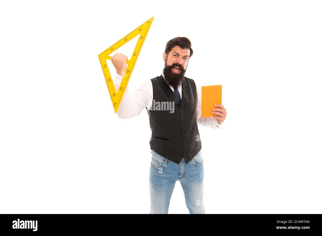 Engineering Is Science To Solve Problems Excited Hipster Hold Triangle And Book Isolated On White Teaching Engineering Discipline Engineering Drawings Applied Mathematics Engineering And Design Stock Photo Alamy