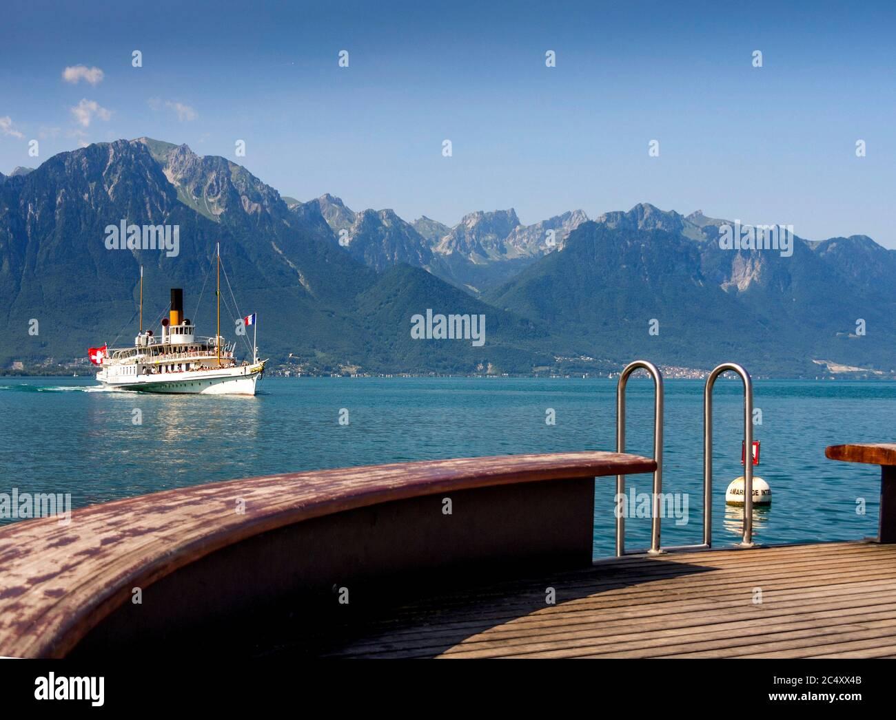 Ferry boat on Lake Leman near Montreux, Canton Vaud, Switzerland Stock Photo
