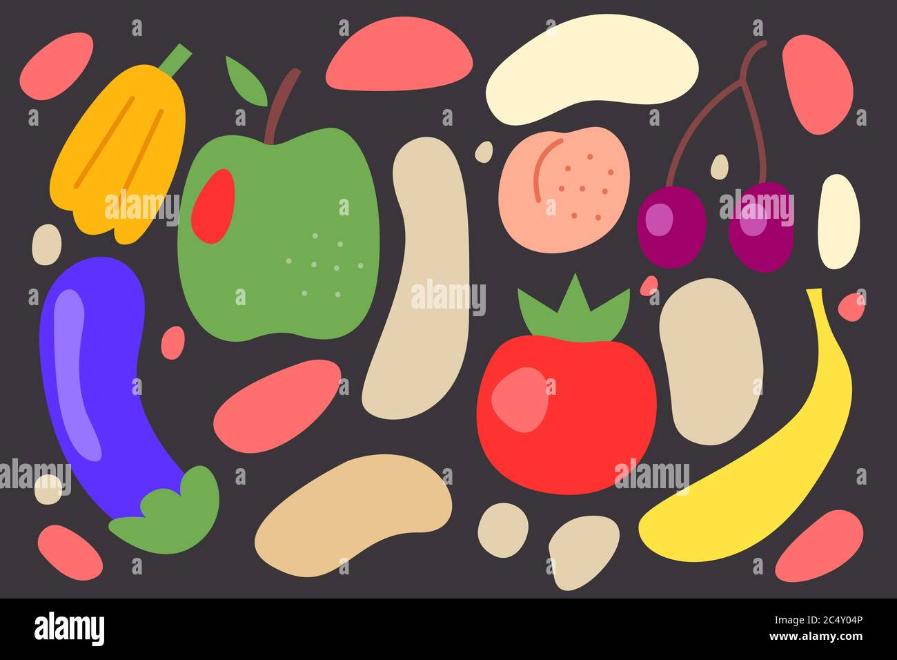 Vegetarian Banner Vegan Food Background Doodles Hand Drawn Fruits And Vegetables Stock Vector Image Art Alamy