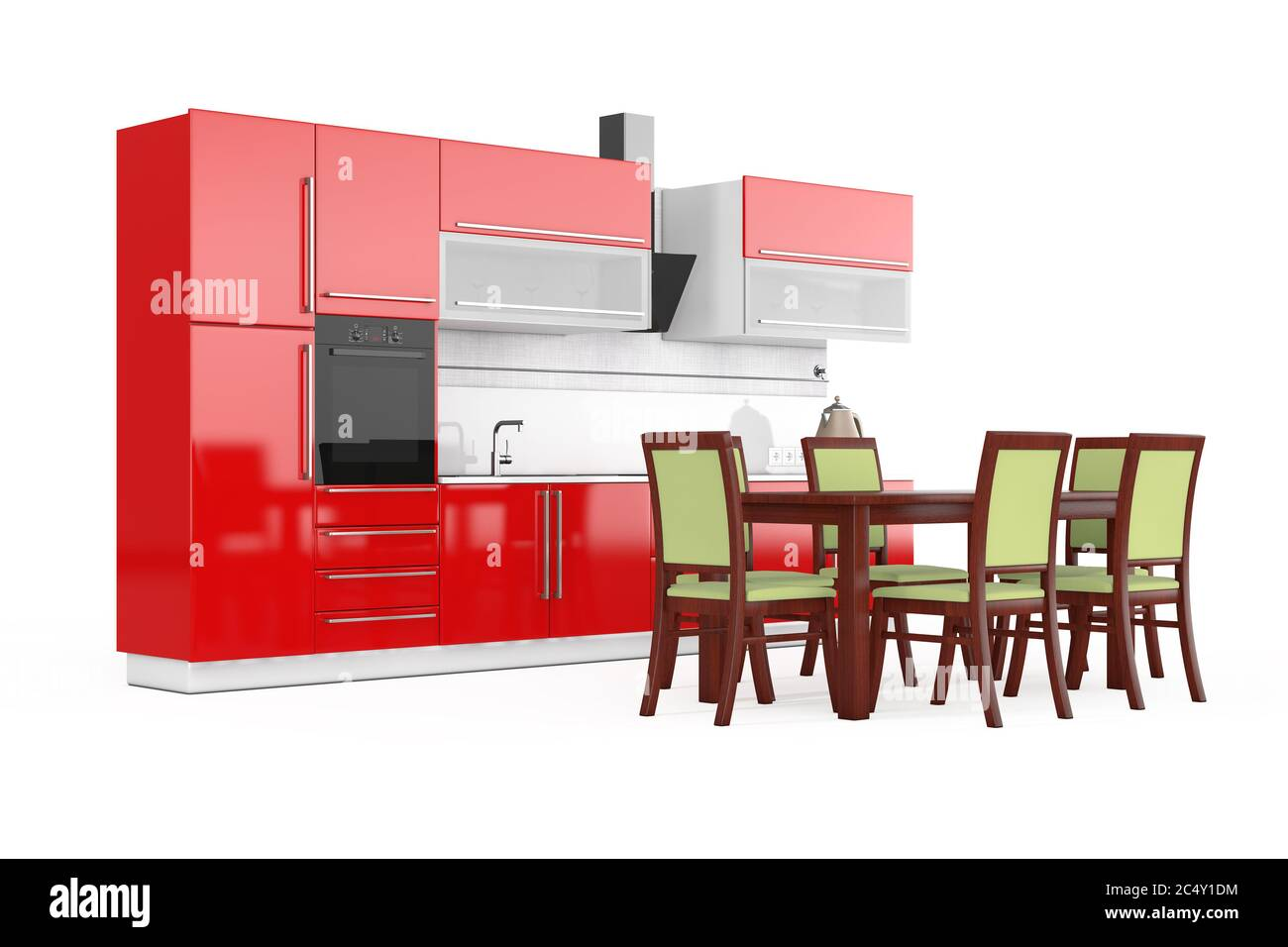Table and Chairs in front of Modern Red Kitchen Furniture with ...
