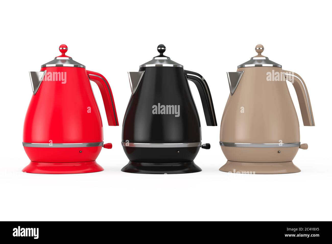 Multicolour Modern Teapot Or Electric Kettle On A White Background 3d Rendering Stock Photo Alamy