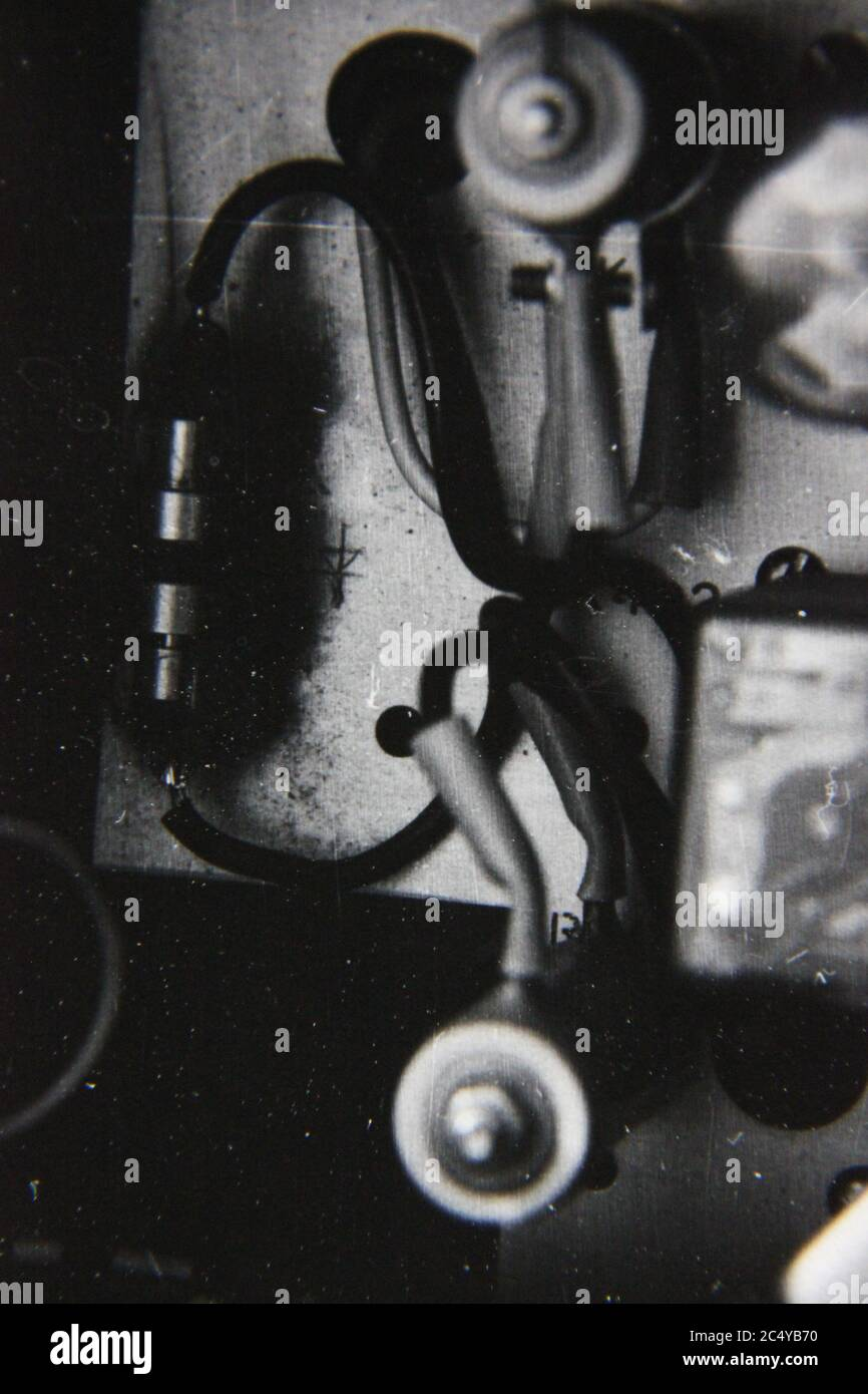 Fine 70s vintage black and white photography of a bunch of wiring integrated with each other. Stock Photo