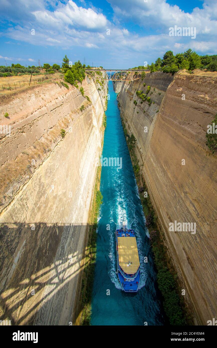 Corinth Canal, tidal waterway across the Isthmus of Corinth in Greece Stock Photo
