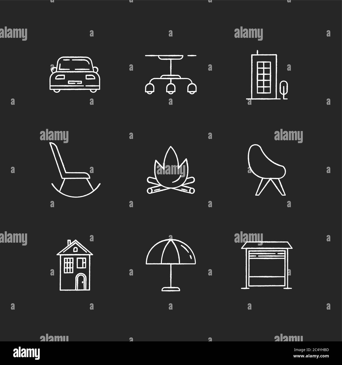 Comfort living chalk white icons set on black background Stock Vector