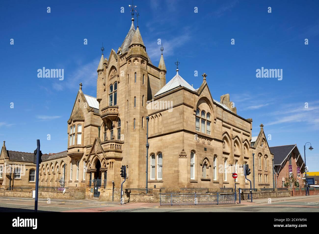 Ashton-under-Lyne town centre Tameside Public Library large stone gothic landmark buildingon Old Street Stock Photo