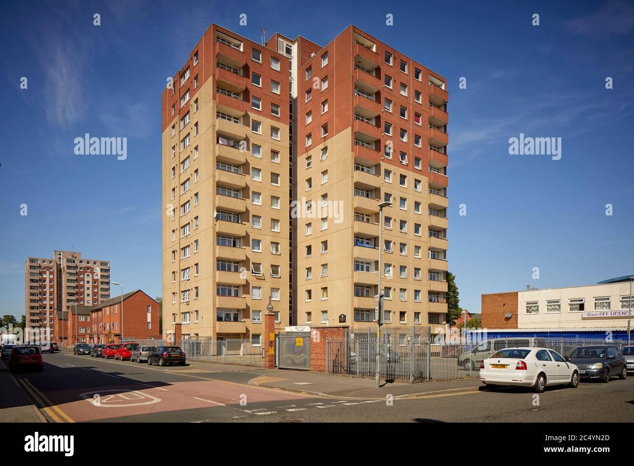 Ashton-under-Lyne town centre flats Portland House a 13-story hi-rise building Stock Photo