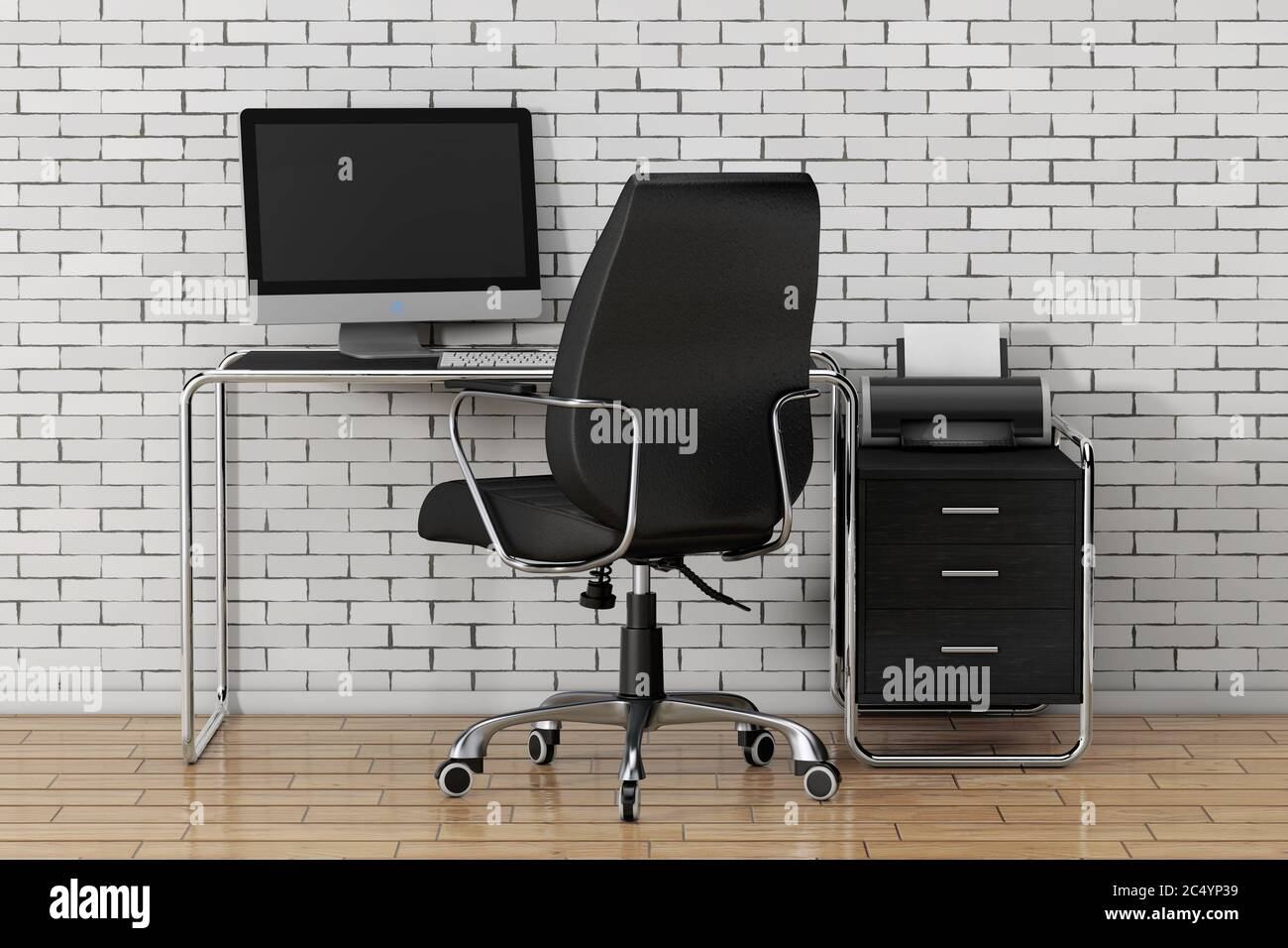 Modern Creative Workspace. Computer is on Office Table with Black