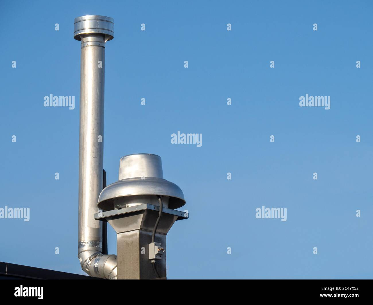 A Restaurant Kitchen Exhaust Vent Grease Trap And Chimney Stock Photo Alamy
