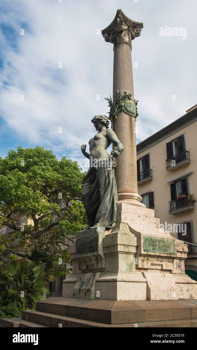Monument to the Political Martyrs of the Salerno Region on Corso Guiseppe Garibaldi, Salerno, Campania, Italy Stock Photo