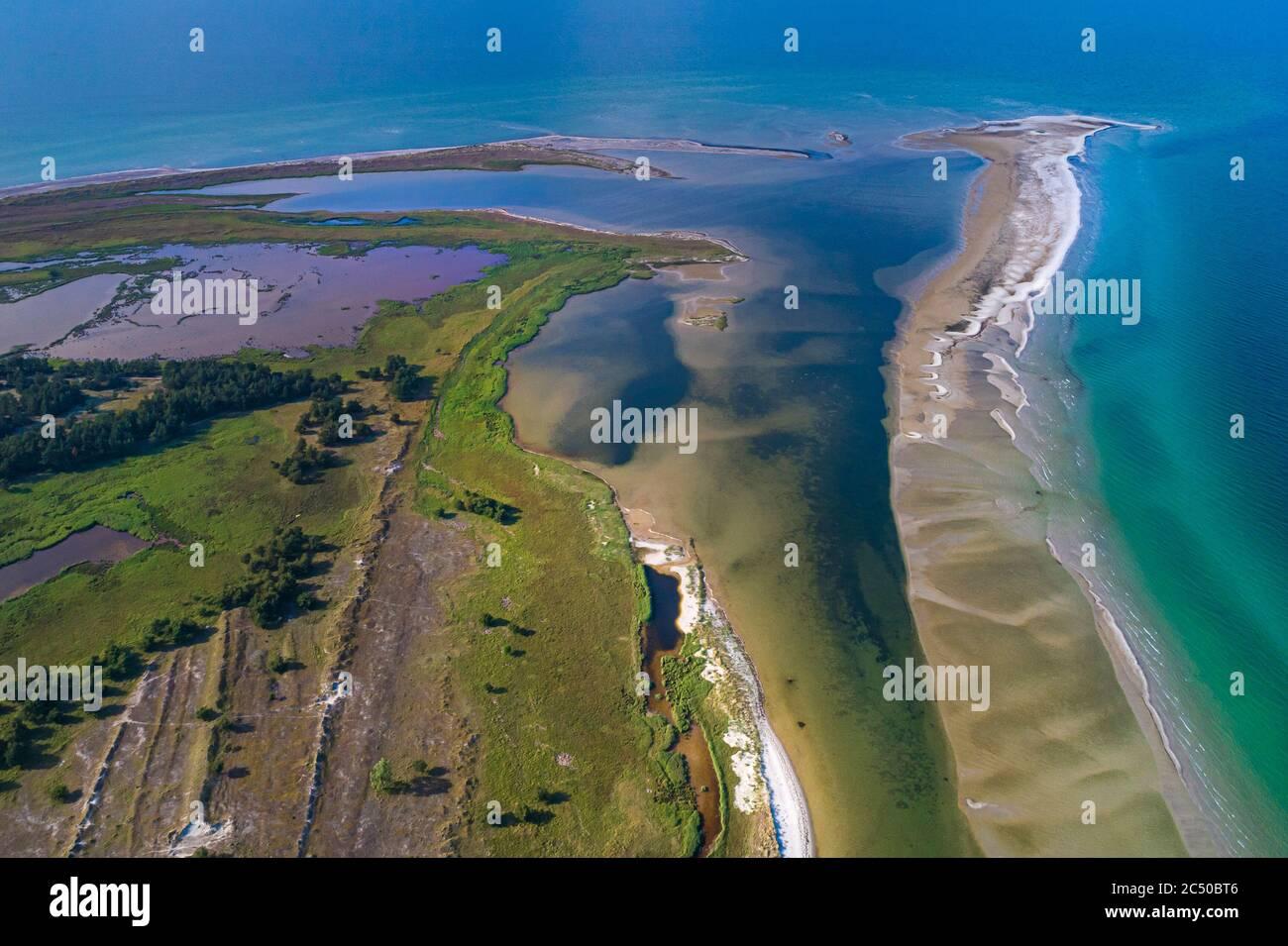 Baltic sea, Germany, Mecklenburg-Western Pomerania, Darß, Prerow, aeriel view of seaside Stock Photo