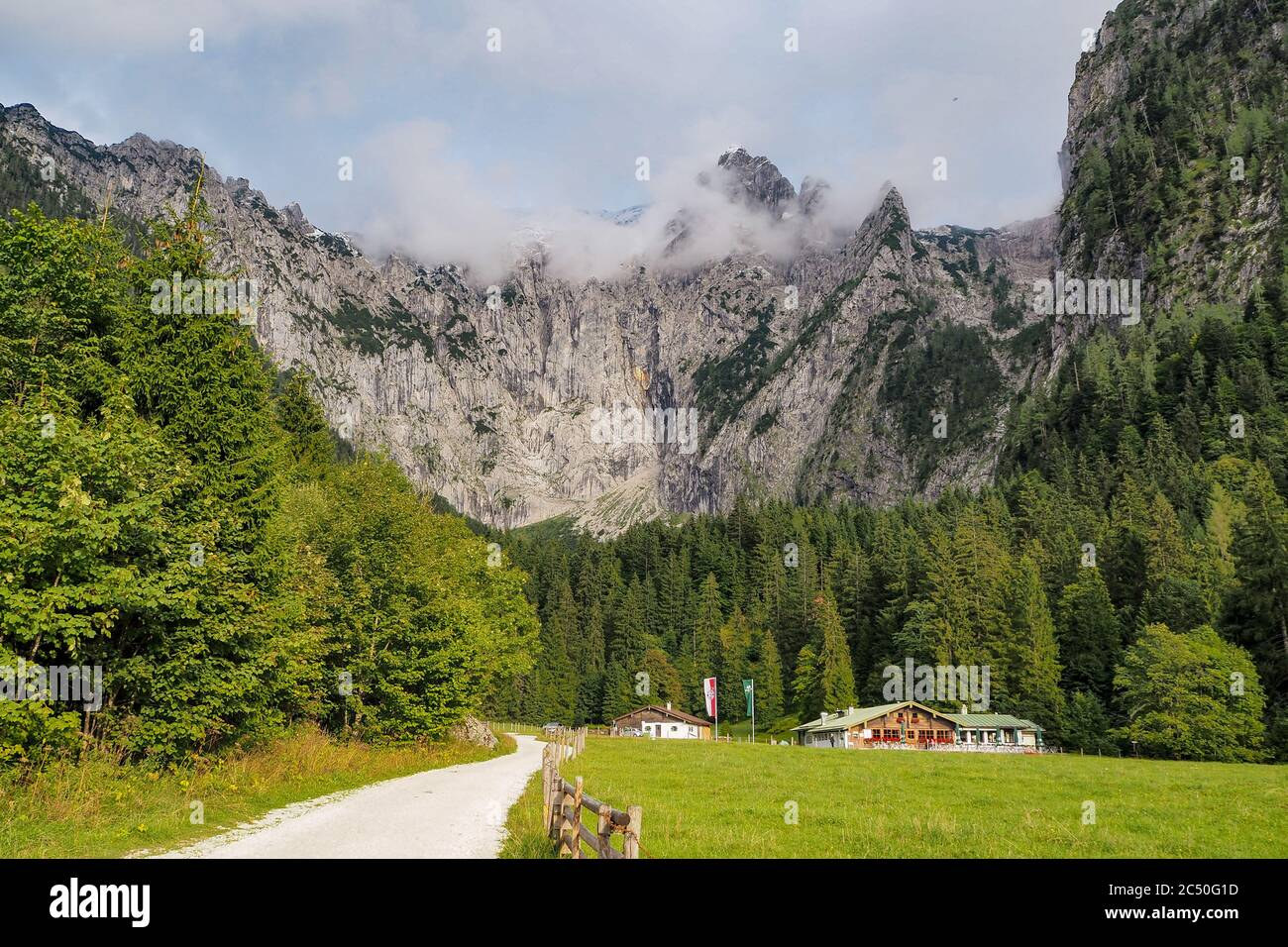 mountain Hoher Goell with its west face and Pflughoerndl to the right from Scharitzkehl Alm at Berchtesgaden national park, Bavaria, Germany Stock Photo