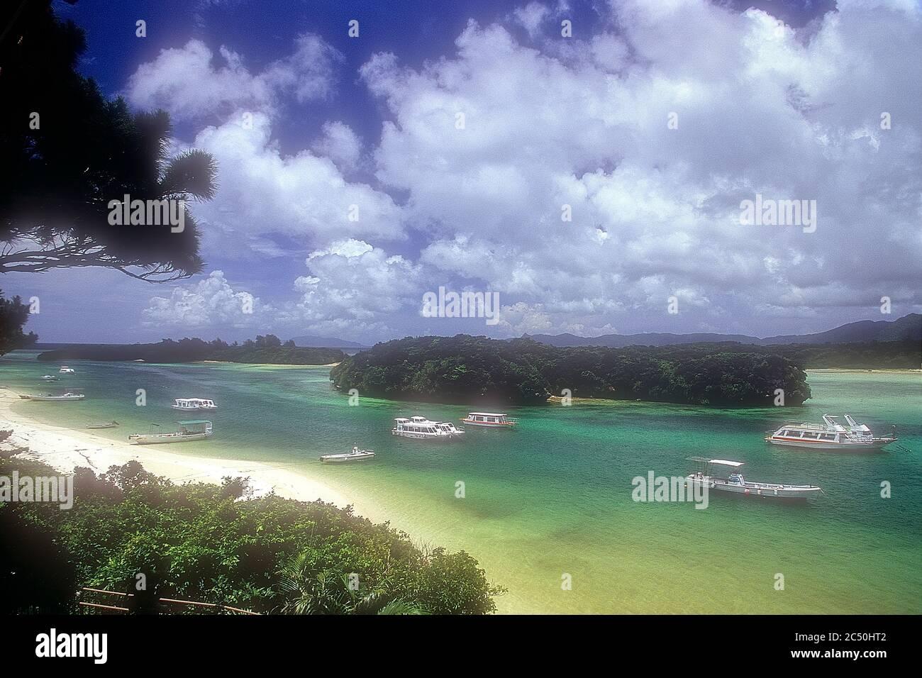 Kabira Bay, Beach,  Rarelly Empty,From Observatory, On Film,  Ishigaki, Yahema Islands, Okinawa, Japan Stock Photo