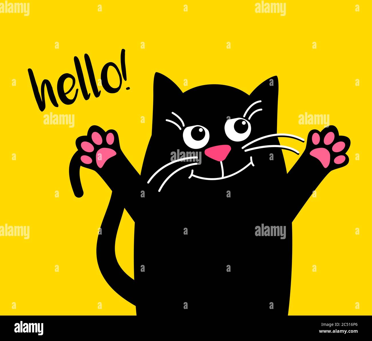 Happy Cute Cat With Text Hello Kawaii Black Cat On Yellow Background Hugs Vector Cartoon Illustration In Flat For Printing On Mugs Or T Shirts Stock Vector Image Art Alamy