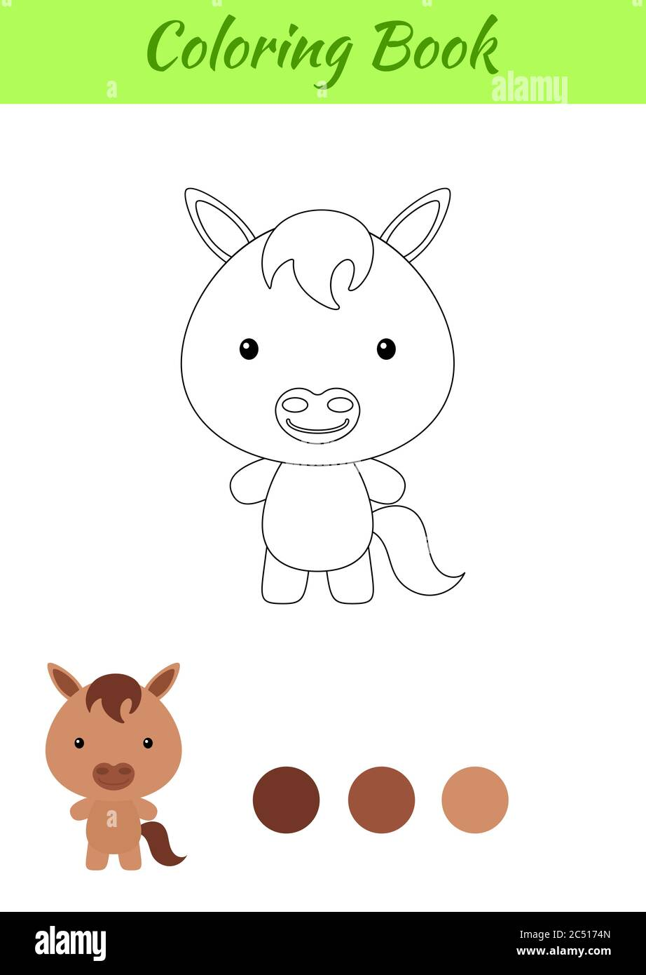 Coloring Page Happy Little Baby Horse Coloring Book For Kids Educational Activity For Preschool Years Kids And Toddlers With Cute Animal Stock Vector Image Art Alamy