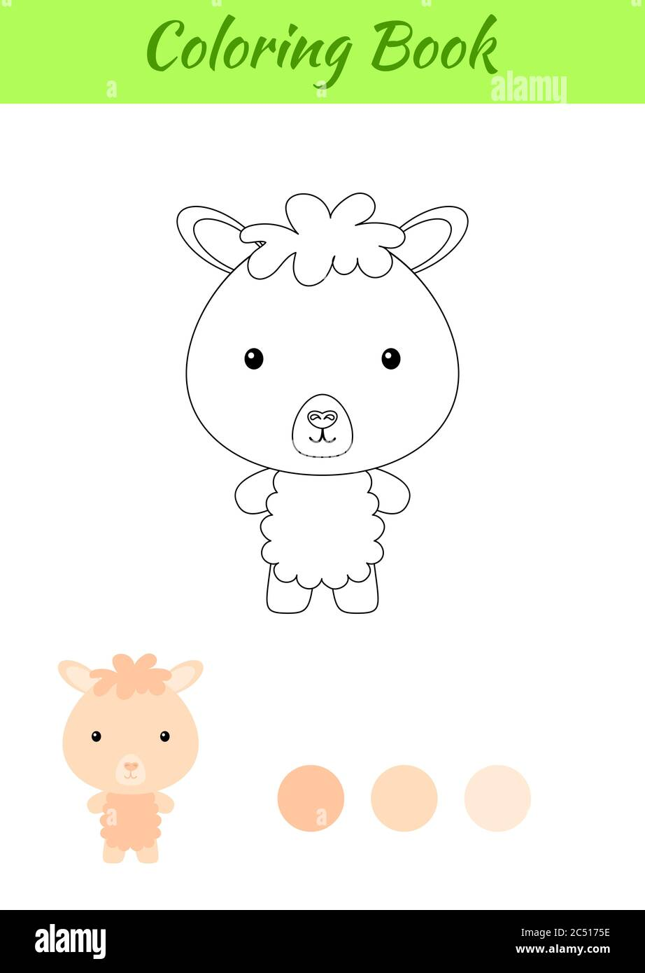 coloring page happy little baby alpaca coloring book for kids educational activity for preschool years kids and toddlers with cute animal stock vector image art alamy alamy