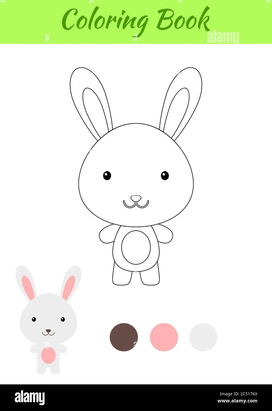 Coloring Page Happy Little Baby Rabbit Coloring Book For Kids Educational Activity For Preschool Years Kids And Toddlers With Cute Animal Stock Vector Image Art Alamy