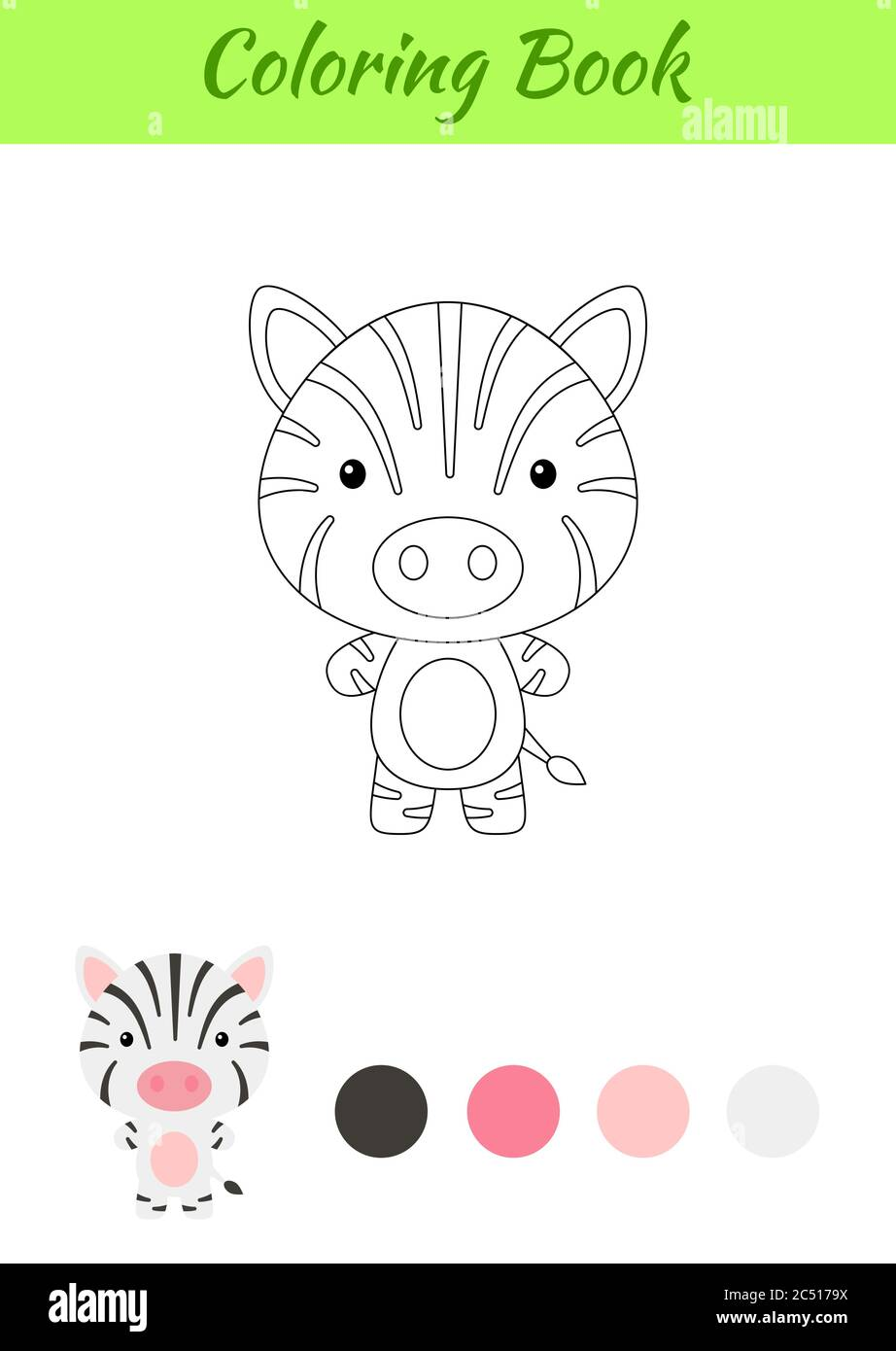 Coloring Page Happy Little Baby Zebra Coloring Book For Kids Educational Activity For Preschool Years Kids And Toddlers With Cute Animal Stock Vector Image Art Alamy