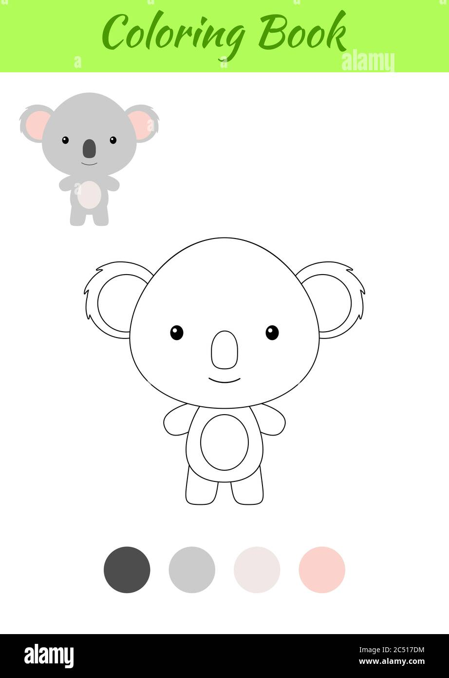 Coloring Page Happy Little Baby Koala Coloring Book For Kids Educational Activity For Preschool Years Kids And Toddlers With Cute Animal Stock Vector Image Art Alamy