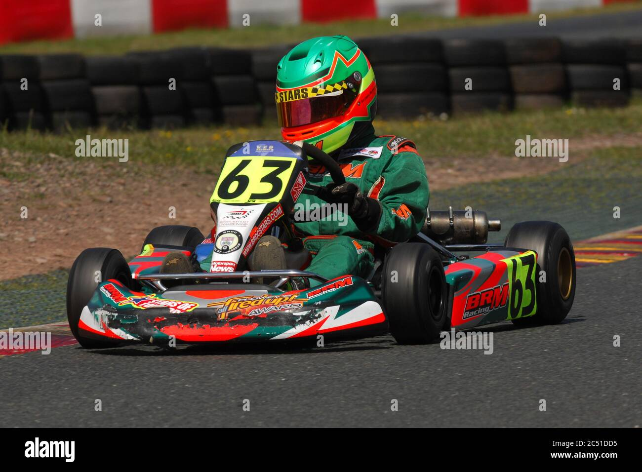 Williams F1 driver George Russell in his early Karting career. Stock Photo