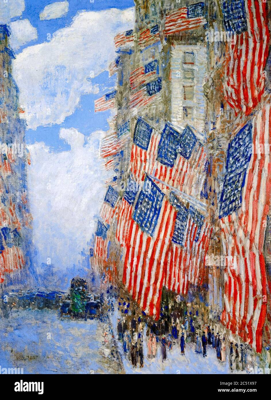 Childe Hassam, The Fourth of July, 1916, (The Greatest Display of the American Flag Ever Seen in New York, Climax of the Preparedness Parade in May), painting, 1916 Stock Photo