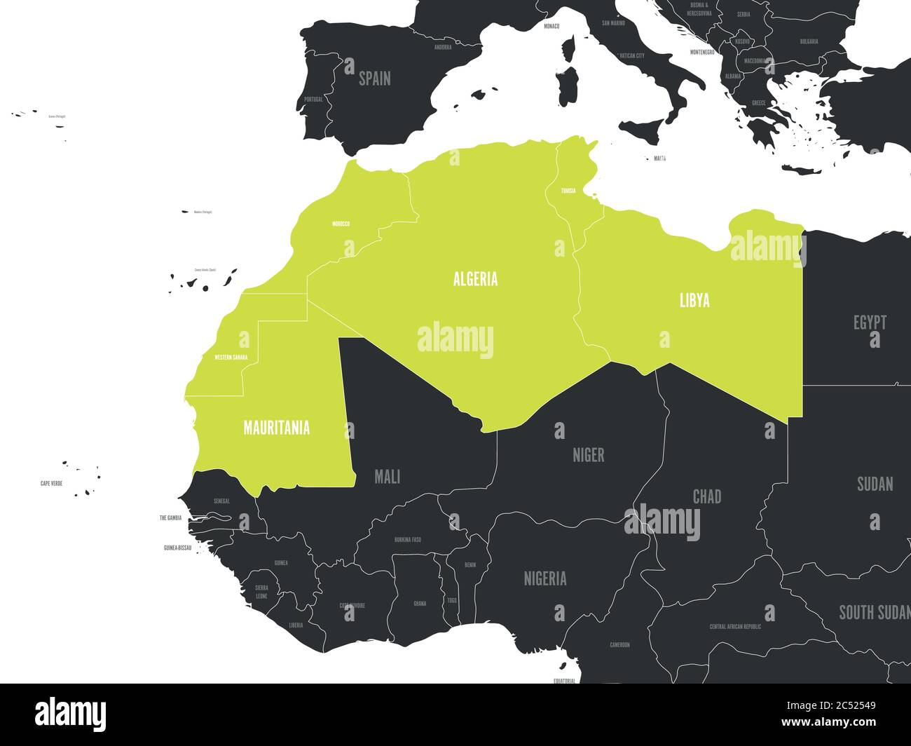 Map Of Northwest Africa Map of Maghreb countries   Northwest Africa states. Vector