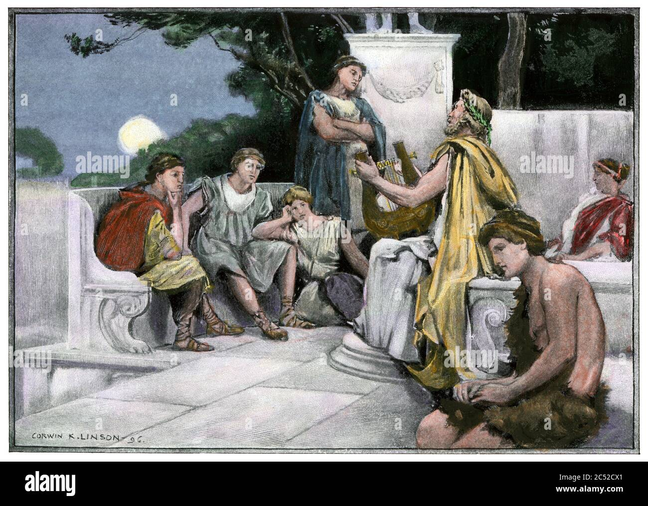 Ancient Greeks listening to the poet Pindar and his lyre. Hand-colored halftone of an illustration Stock Photo